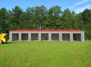 commercial building with roll-up doors